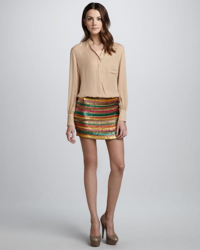 Haute-Hippie-Long-Sleeve-Silk-Blouse-Sequined-Striped-Skirt